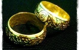 """แหวนถมทอง แบบปลอกมีด หน้า 1 ซม. มีตรา """"นะโม"""""""