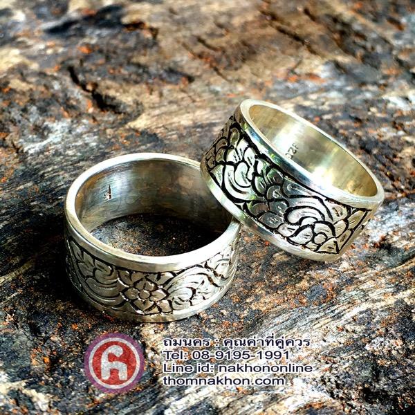 แหวนเงิน แหวนหน้าแบน สลักดุน