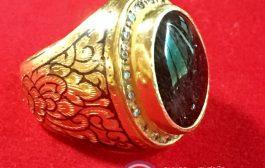 แหวนผู้ชายทรงมอญ แหวนถมทอง แก้วขนเหล็ก