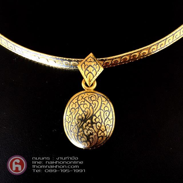 Choker Handmade,#โชคเกอร์ ถมทอง พร้อมจี้ถมทองจัดเป็นชุด สร้อยคอ Choker งานเครื่องถมนคร